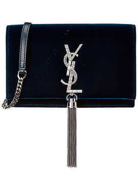 Saint Laurent Kate Velvet & Crystal Tassel Wallet On Chain by Saint Laurent