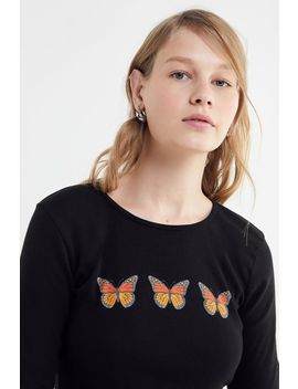 Truly Madly Deeply Butterfly Cropped Long Sleeve Tee by Truly Madly Deeply