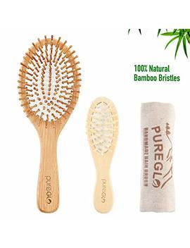 Natural Wooden Hair Brush, Bamboo Paddle And Bristle Detangling Hairbrush With Mini Travel Brush Set For Women Men And Kids, For Thick Fine Straight Curly Wavy Dry And Wet Hair by Pure Glo