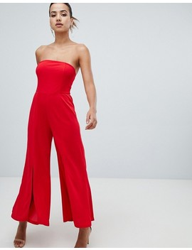 Ax Paris Bandeau Jumpsuit With Side Split by Jumpsuit