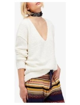 Nwt Free People Lofty Boucle V Neck Sweater Size L Large Ivory by Free People
