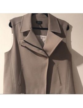 Topshop Sz 8 Belt Buckle Vest Beige Notched Lapels European Style by Topshop