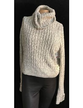 Free People Ivory Twisted Cable Turtleneck Cropped Sweater Size Large Msrp $108 by Free People