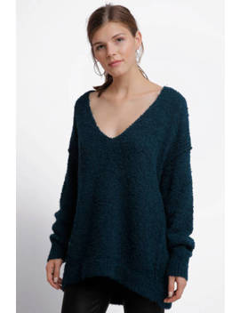 Free People Lofty V Neck Pullover,  Dark Turquoise, Size:L/G,  #C by Free People
