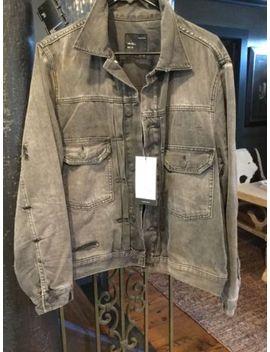 Zara Black Jean Jacket Size Large Distressed by Zara