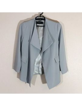 Zara Collection Womans Jacket Large Gray Asymmetrical Blazer Open Front by Zara