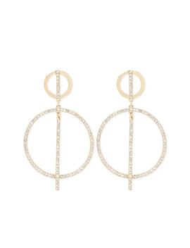 Embellished Tiered Drop Hoop Earrings by Forever 21