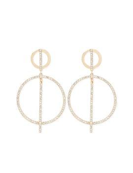 Embellished Tiered Drop Hoop Earrings by Forever 21