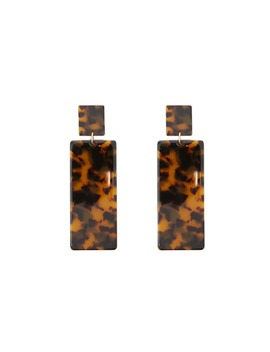 Tortoiseshell Rectangle Drop Earrings by Forever 21
