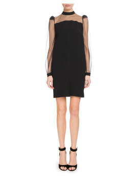 Long Sleeve Crepe Satin Shift Dress W/ Sheer Embroidered Neck & Sleeves by Givenchy