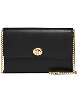 Leather Turnlock Chain Crossbody by Coach
