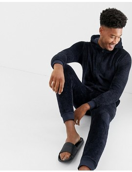 Asos Design Tall Onesie In Navy Fleecy Fabric by Asos Design