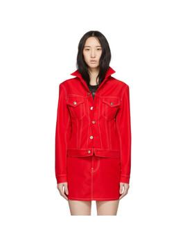 Red Denim Femme Trucker Jacket by Helmut Lang