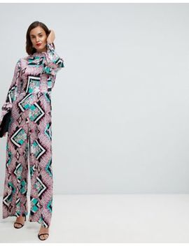 Asos Design Jumpsuit With High Neck And Blouson Sleeve In Mixed Floral Print by Asos Design