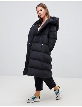 Boohoo Longline Padded Coat With Hood In Black by Boohoo