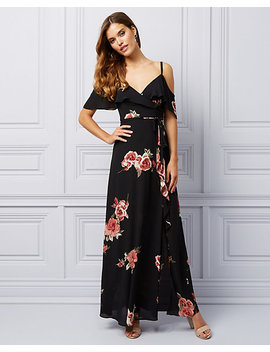 Floral Print Cold Shoulder Ruffle Gown by Le Chateau