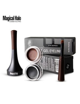 Magical Halo Makeup Waterproof Lock Color Cream Eyebrow Gel Pencil 2 Colors Eyebrow Tint Brown 3 D Natural Eyebrow Pen With Brush by Magical Halo