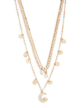 Layered Rhinestone, Crescent & Star Pendant Necklace by Forever 21