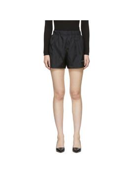 Black Nylon Patch Sport Shorts by Prada