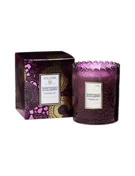 Japonica Santiago Huckleberry Scalloped Edge Embossed Glass Candle by Voluspa
