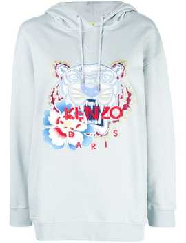 Embroidered Tiger Logo Hoodie by Kenzo