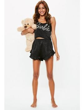 Barbie X Missguided Black Satin Frill Pajamas Set by Missguided