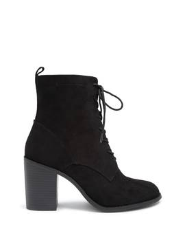 Lace Up Block Heel Booties by Forever 21