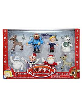 """Rudolph The Red Nosed Reindeer Figurine Set  8pc Set Including 2"""" Figures Of Rudolph, Yukon Cornelius, Hermey, Bumble The Abominable Snowman, Sam The Snowman, Charlie In The Box, Santa & Clarice by Rudolph"""