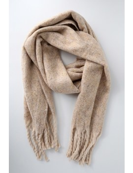 Cold Outside Beige Knit Scarf by Lulus