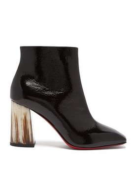Hilconico 85 Horn Heel Patent Leather Boots by Christian Louboutin