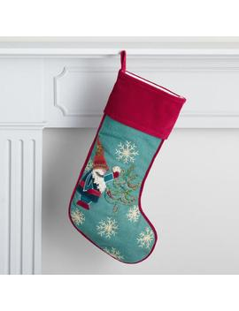 Teal Gnome Embroidered Holiday Stocking by World Market