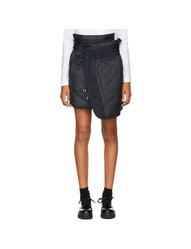 Navy Quilted Nylon Wrap Miniskirt by Sacai