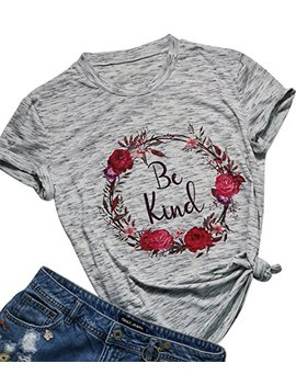 Be Happy Be Kind Funny Graphic T Shirt Women Casual Letter Print Tee Tops Blouse by Fayaleq