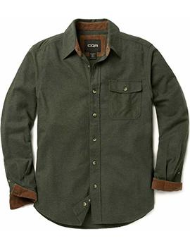 Cqr Men's Flannel Long Sleeved Button Up Plaid 100 Percents Cotton Brushed Shirt Hof110 by Cqr