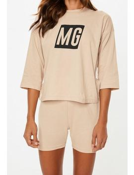 Camel Mg Logo Oversized Cycling Short Pyjama Set by Missguided