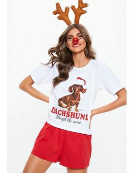 Red Christmas Dachshund Pajamas Set by Missguided