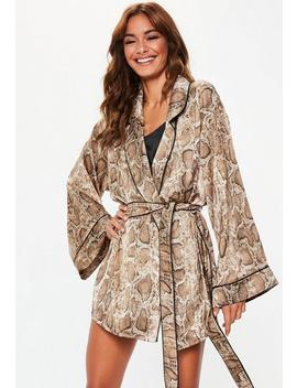 Brown Snake Print Satin Dressing Gown by Missguided