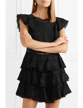 Juniper Lace Trimmed Tiered Pintucked Cotton Voile Mini Dress by Zimmermann