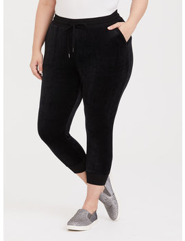 Black Velour Jogger by Torrid