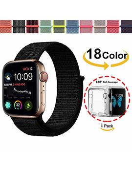 Chok Idea Watchband For Apple Watch Strap 38mm 40mm,With Clear Tpu Case,Nylon Sport Loop Replacment Band For I Watch Apple Watch Series 4 Series 3 2 1,Nike+,Black by Chok Idea