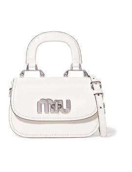 Madras Mini Textured Leather Shoulder Bag by Miu Miu