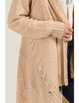 Jessica Cable Knit Boucle Cardigan by Francesca's