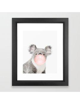 Koala, Bubble Gum, Pink, Animal, Nursery, Minimal, Trendy Decor, Interior, Wall Art Framed Art Print by
