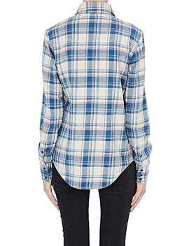 Checked Cotton Blend Flannel Western Shirt by Saint Laurent