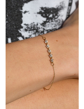 Gold Rhinestone Flower Bracelet by Brandy Melville