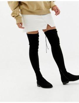 Asos Design Wide Leg – Kaska – Flache Overknee Stiefel Mit Nietenverzierung by Asos