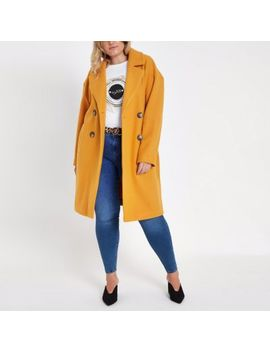 Plus Yellow Long Double Breasted Coat by River Island