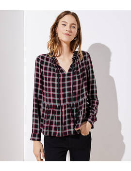 Plaid Tie Neck Peplum Blouse by Loft