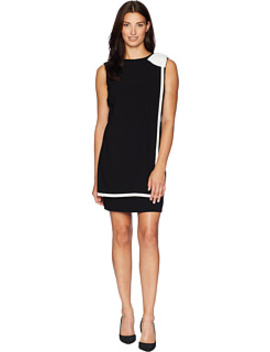 Bow Shoulder Crepe Sheath Dress With Banded Overlay by Tahari By Asl