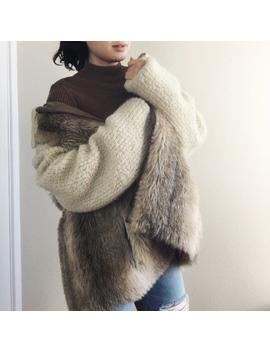 Vintage Fur Paneled Coat   Tan by Vintage